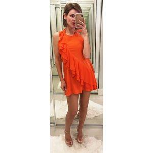 alice + olivia Ruffle Halter Dress in Orange Silk